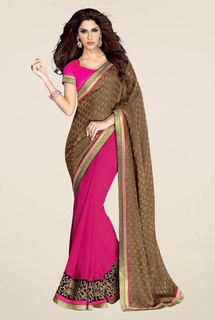 Shonaya Brown & Pink Georgette Saree