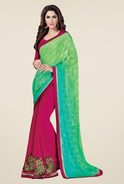 Shonaya Green & Pink Georgette Printed Saree