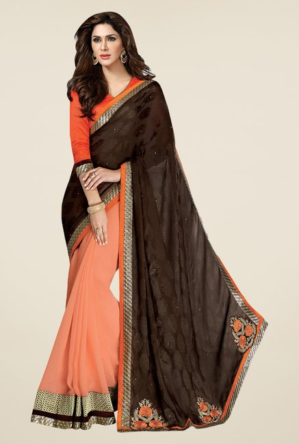 Shonaya Brown & Orange Georgette Printed Saree