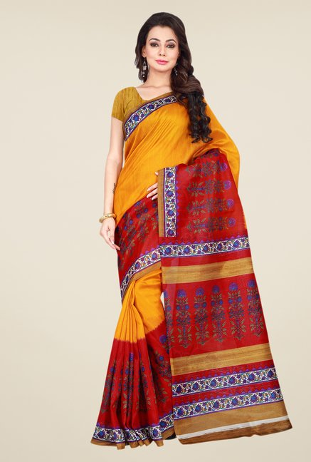 Shonaya Yellow & Red Bhagalpuri Silk Printed Saree