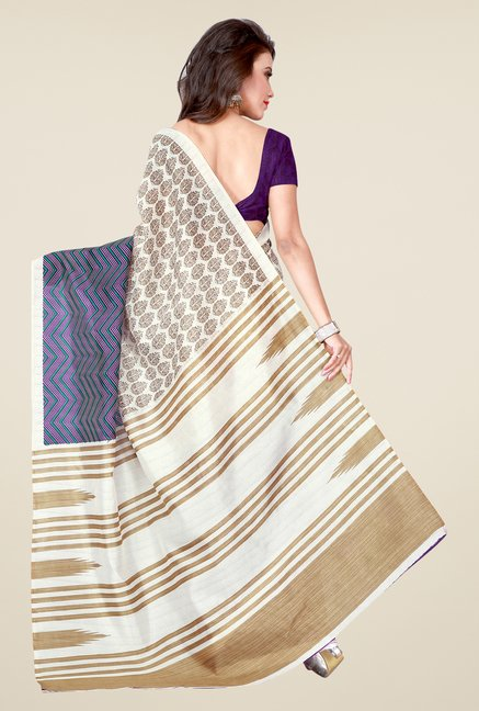 Shonaya Off White & Purple Bhagalpuri Art Silk Printed Saree