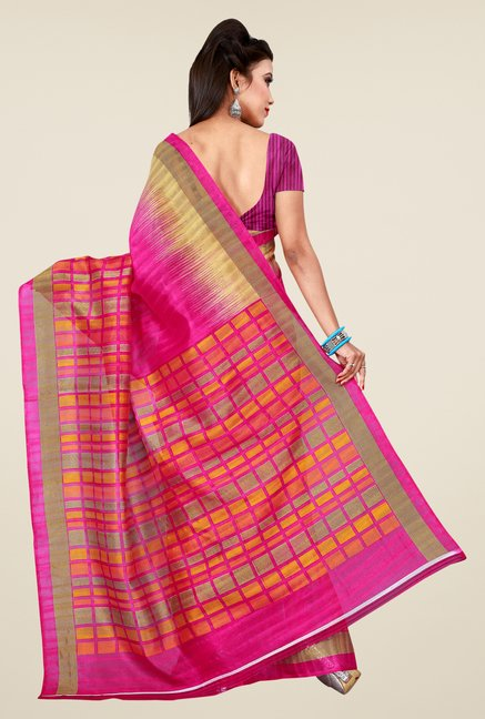 Shonaya Pink Bhagalpuri Art Silk Checks Saree