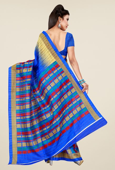 Shonaya Blue Bhagalpuri Art Silk Checks Saree