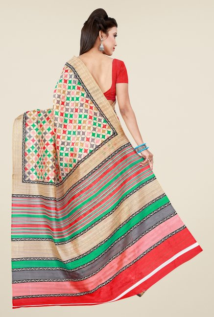 Shonaya Multicolor Bhagalpuri Art Printed Saree