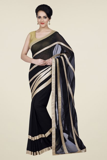 Shonaya Black Georgette Solid Saree