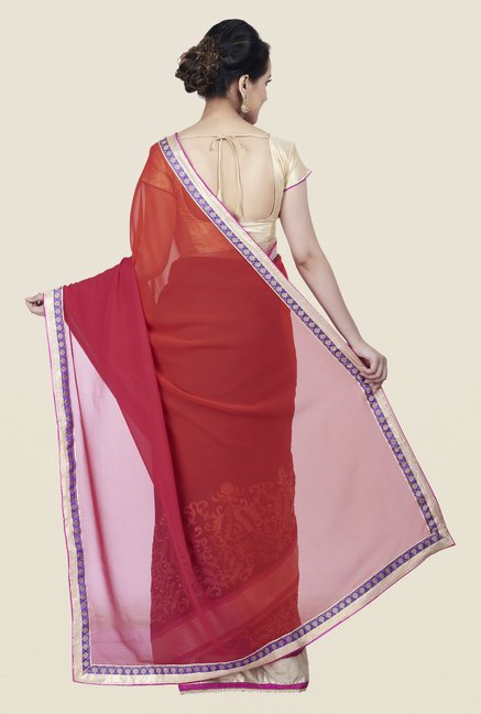 Shonaya Orange & Pink Chiffon Embroidered Saree