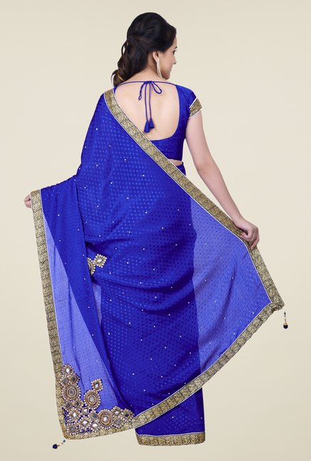 Shonaya Blue Jacquard Embroidered Saree