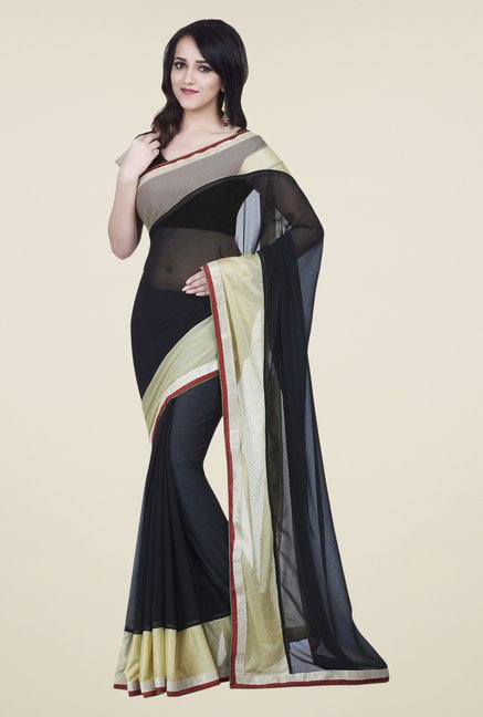 Shonaya Black Chiffon Solid Saree