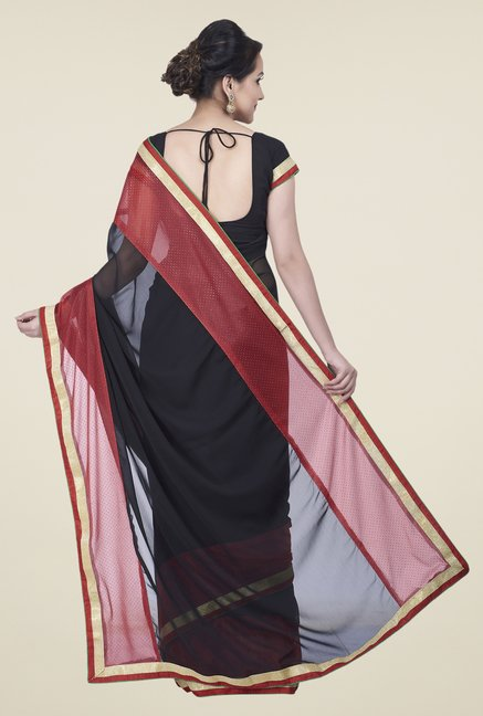 Shonaya Black & Red Chiffon Solid Saree