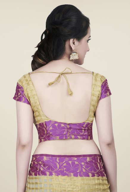 Shonaya Beige & Purple Jacquard Checks Saree