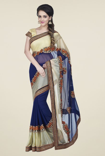 Shonaya Beige & Navy Chiffon Embroidered Saree