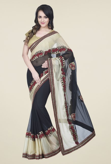 Shonaya Beige & Black Chiffon Embroidered Saree