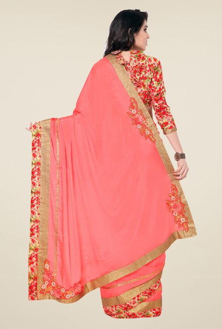 Shonaya Pink Chinnon Embroidered Saree