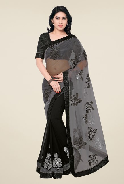 Shonaya Grey & Black Net & Georgette Embroidered Saree