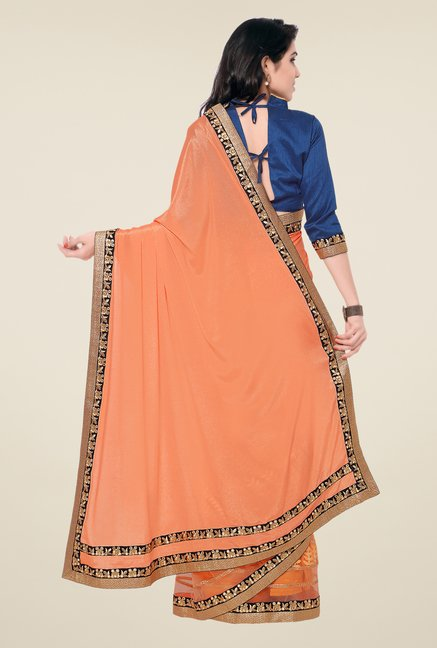 Shonaya Peach Chinnon & Silk Embroidered Saree