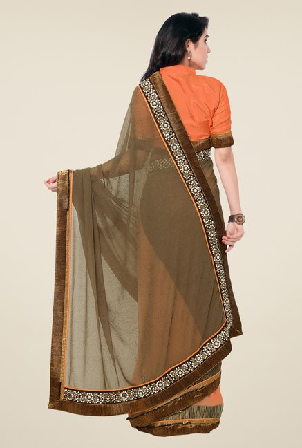 Shonaya Brown & Orange Georgette & Georgette Printed Saree