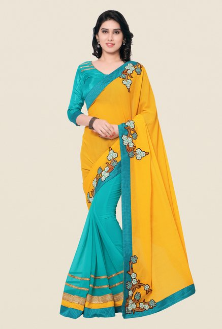Shonaya Turquoise & Yellow Crepe & Georgette Saree