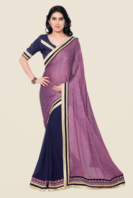 Shonaya Navy & Purple Jacquard & Georgette Printed Saree