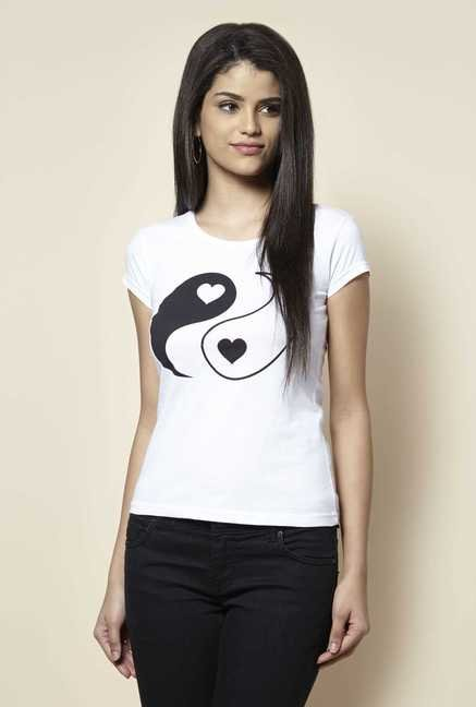 Zudio White Heart Print T Shirt