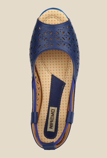 Niremo Navy Blue Peeptoe Shoes