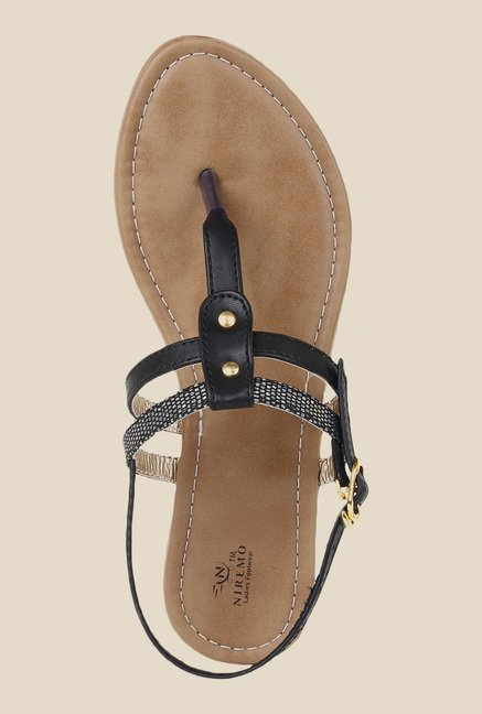 Niremo Black Back Strap Sandals