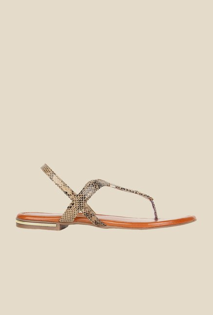 Niremo Beige & Black Sling Back Sandals