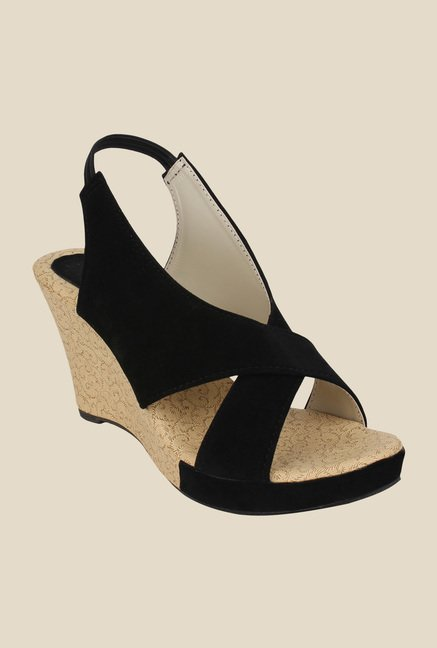 Niremo Black Sling Back Wedges