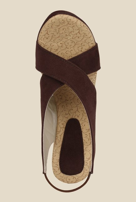 Niremo Brown Sling Back Wedges