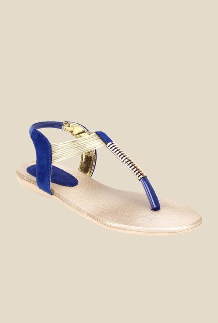 Niremo Blue & Golden Sling Back Sandals