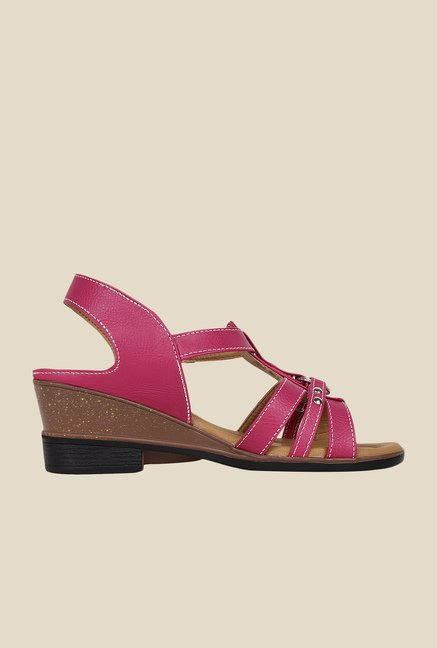 Niremo Pink Ankle Strap Wedges