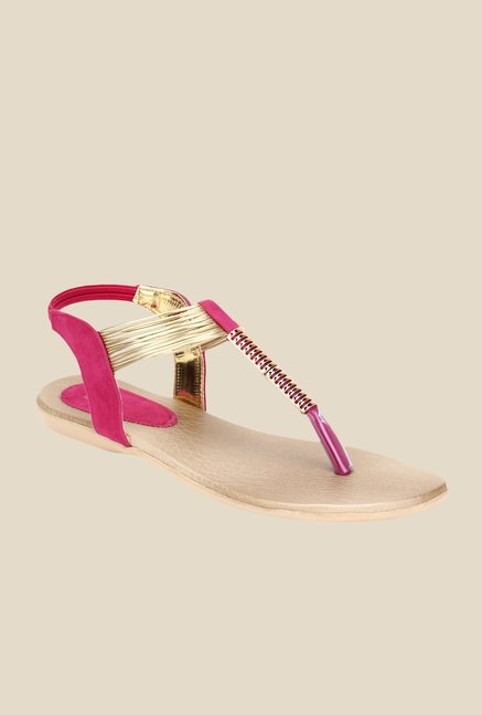 Niremo Pink & Golden Sling Back Sandals