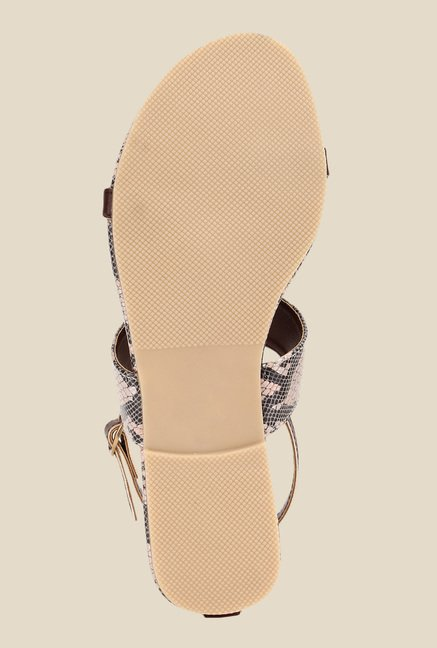 Niremo Brown & Beige Ankle Strap Sandals