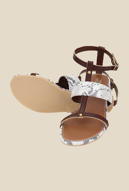 Niremo Brown & White Ankle Strap Sandals