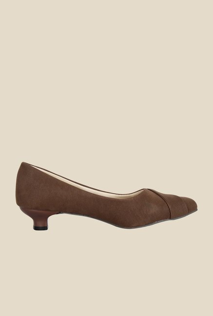 Niremo Brown Kitten Heel Pumps
