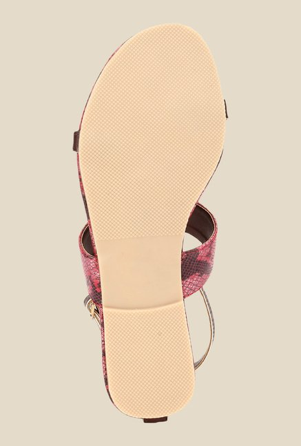 Niremo Brown & Red Ankle Strap Sandals