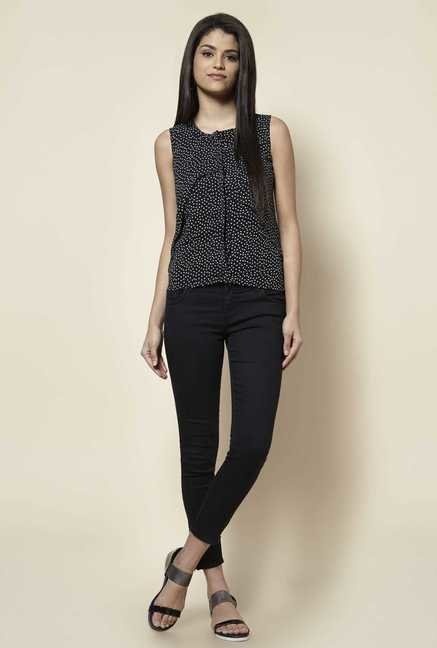 Zudio Black Heart Print Blouse