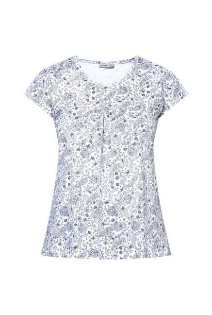 Zudio White Paisley Print Top
