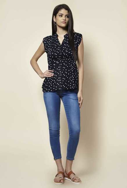 Zudio Navy Polka Dot Blouse