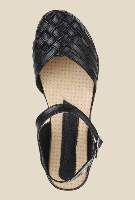 Niremo Black Ankle Strap Sandals