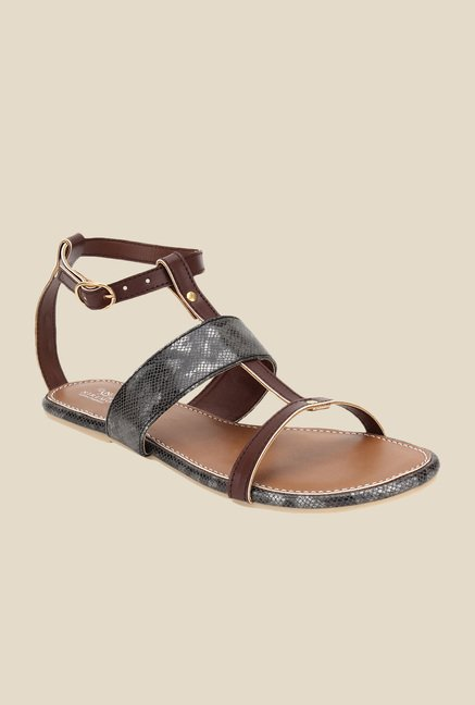 Niremo Brown & Black Ankle Strap Sandals