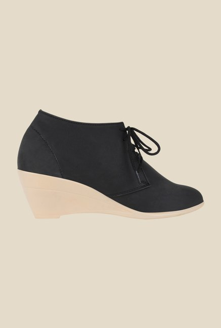 Niremo Black Wedge Heeled Booties