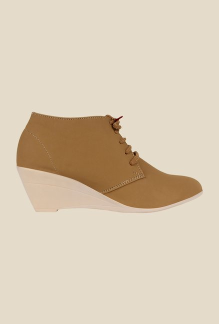 Niremo Beige Wedge Heeled Booties
