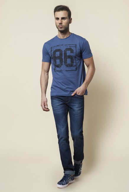 Zudio Blue Printed T Shirt