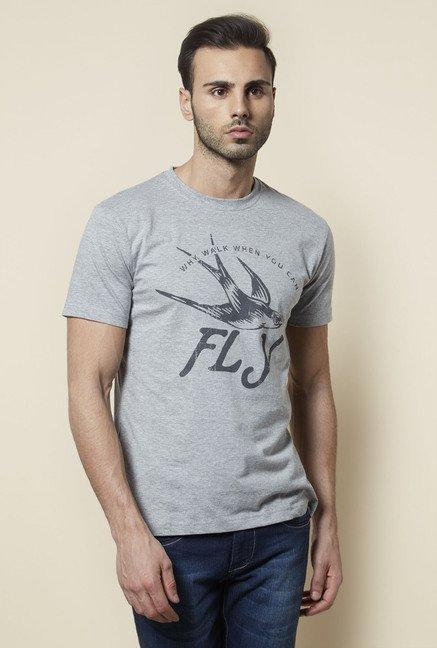 Zudio Grey Printed T Shirt