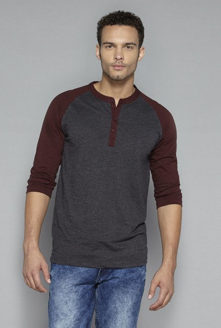 Nuon by Westside Grey Solid T Shirt