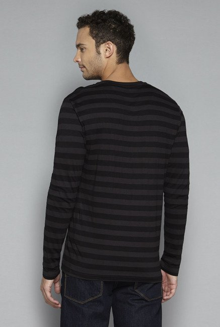 Ascot by Westside Black Striped T Shirt