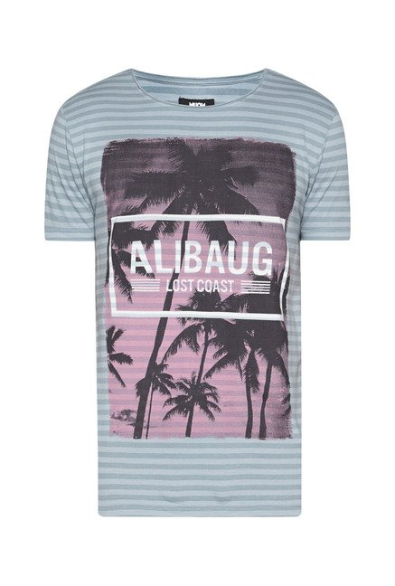 Nuon by Westside Teal Striped T Shirt