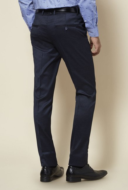 Zudio Navy Textured Trouser