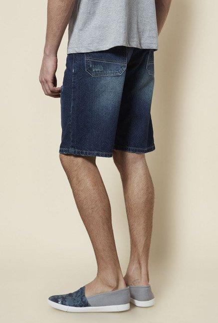 Zudio Indigo Distressed Shorts