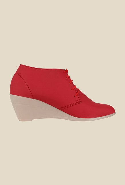 Niremo Red Wedge Heeled Booties